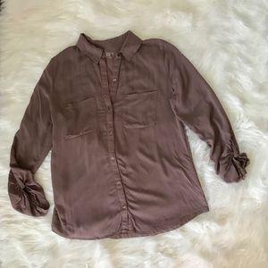 LOFT Blush Mauve Button Down Blouse with Pockets S